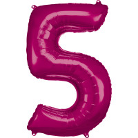 Folienballon XL Zahl 5 Pink Partydeko Geburtstag