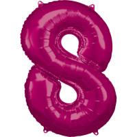 Folienballon XL Zahl 8 Pink Partydeko Geburtstag