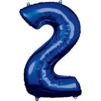 Folienballon XL Zahl 2 Blau Partydeko Geburtstag Ballon