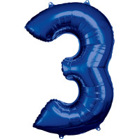 Folienballon XL Zahl 3 Blau Partydeko Geburtstag Ballon