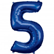 Folienballon XL Zahl 5 Blau Partydeko Geburtstag