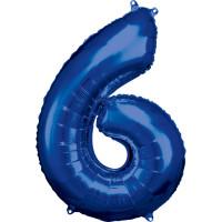 Folienballon XL Zahl 6 Blau Partydeko Geburtstag