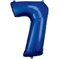 Folienballon XL Zahl 7 Blau Partydeko Geburtstag Riesenballon Ballon