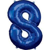 Folienballon XL Zahl 8 Blau Partydeko Geburtstag Riesenballon Ballon