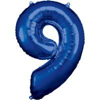 Folienballon XL Zahl 9 Blau Partydeko Geburtstag