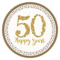 Teller Zahl 50 Gold Partydeko 50. Geburtstag Goldene Hochzeit