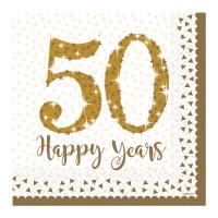 Servietten Zahl 50 Gold Partydeko 50. Geburtstag Goldene Hochzeit