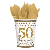 Becher Zahl 50 Gold Partydeko 50. Geburtstag Goldene Hochzeit