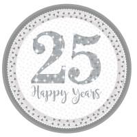 Teller Zahl 25 Silber Partydeko 25. Geburtstag Silberne Hochzeit