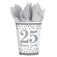 Becher Zahl 25 Silber Partydeko 25. Geburtstag Silberne Hochzeit