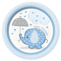 Baby Shower Teller blau Elefant Partydeko Babyparty
