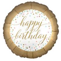 Folienballon Happy Birthday gold Art.37177 Partydeko Ballon Geburtstag