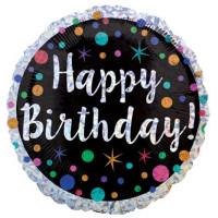 Folienballon Happy Birthday buntes Konfetti Partydeko Ballon Geburtstag