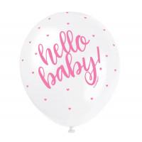 Luftballons Hello Baby Rosa Girl Partydeko Babyparty Babyshower Geburt Ballon