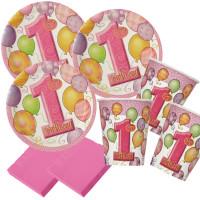 Partyset 1. Geburtstag Ballon Rosa Partydeko