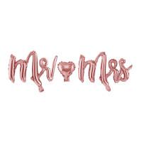 Mr. & Mrs Folienballon Schriftzug Rose zur Hochzeit Partydeko