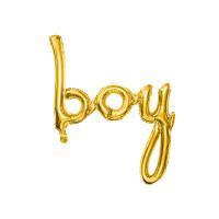 Folienballon Boy Schriftzug Gold zur Babyparty Partydeko