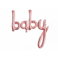 Folienballon Baby Schriftzug Roségold zur Babyparty Partydeko