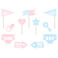 Photo Props Gender Reveal Set zur Babyparty Partydeko