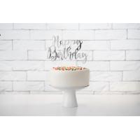 Cake Topper Happy Birthday Silber Partydeko Geburtstag