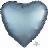 Folienballon Herz Satin Pastel Steel Blue Partydeko Ballon