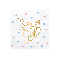 Gender Reveal Servietten Boy oder Girl Babyparty Partydeko