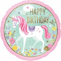 Folienballon Einhorn rund Art. 37272 Partydeko Ballon Geburtstag