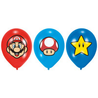 Super Mario Luftballons 6 Stück Partydeko Kindergeburtstag
