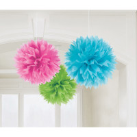 Pom Pom Fluffy Multi Color Partydeko Geburtstag