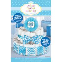 Deko Torte Windeltorte Blau zur Geburt Babyparty Baby Shower Partydeko