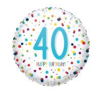 Folienballon Zahlenballon Konfetti Zahl 40 Partdeko Geburtstag