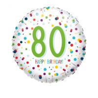 Folienballon Zahlenballon Konfetti Zahl 80 Partdeko Geburtstag