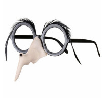 Halloween Hexen Brille mit Hexenase und Augenbrauen Kostümzubehör