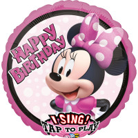 Singender Ballon XXL Minnie Mouse Happy Birthday Partydeko