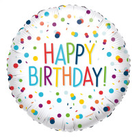 Folienballon Happy Birthday Dots Art. 41340 Partydeko Ballon Geburtstag Bunt