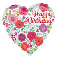 Folienballon Happy Birthday Herz Art. 35616 Partydeko Geburtstag Ballon