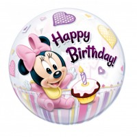 Minnie Mouse Baby Ballon Bubbles Art.12862 Partydeko Geburtstag