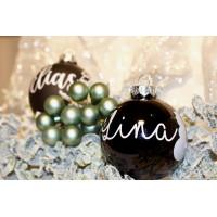 Weihnachtskugel personalisiert mit Wunschname Schwarz