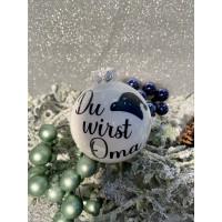 Weihnachtskugel personalisiert mit Wunschname Weiss