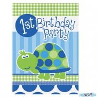 Schildkröte Einladungskarten 8 Stück 1. Geburtstag 1. Kindergeburtstag Deko