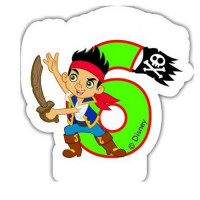 Jake and the Neverland Piraten Kerze Zahl 6 Disney Partydeko Geburtstag