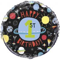 Folienballon Happy 1. Birthday Space Weltall Partydeko Geburtstag
