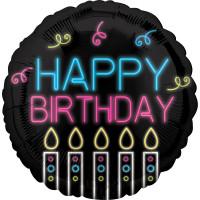 Folienballon Happy Birthday Neon Art. 41787 Partydeko Geburtstag Ballon