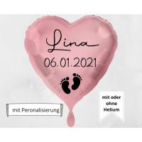 Folienballon zur Geburt mit Wunschname und Datum personalisiert Babyparty Deko