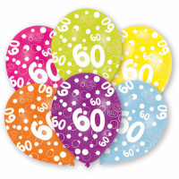 Ballon Happy Birthday Zahl 60 Art.996547 Partydeko Geburtstag Luftballons