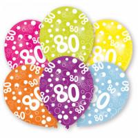 Luftballons Zahl 80 Partydeko 80. Geburtstag 6 Stück