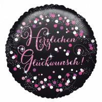 Folienballon Herzlichen Glückwunsch Pink Partydeko Geburtstag Ballon