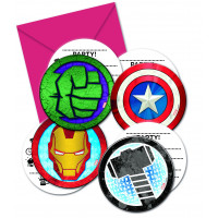 Avengers Einladungskarten 6 Stück Partydeko Superhelden Kindergeburtstag