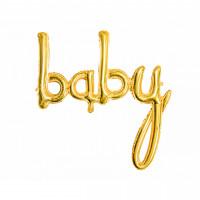 Folienballon Baby Schriftzug Gold zur Babyparty Partydeko