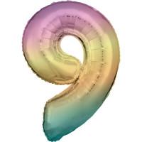 Folienballon XL Zahl 9 Regenbogen Partydeko Geburtstag Ballon